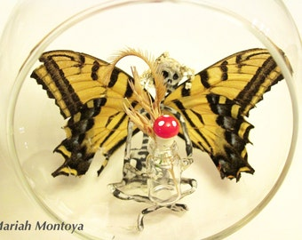 Fairy In A Terrarium - Zinna (Made with Real Wings)