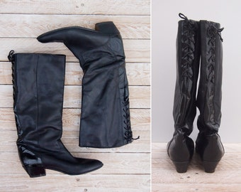1980s Tall Boots - Vintage 80s Black Leather Boots - Corsetto Black Leather Boots