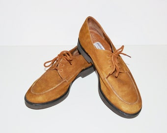 Vintage Brown Shoes Leather Loafer Shoes Camel Brown Suede Casual Shoes Etienne Aigner Flats Round Toer Size 7.5 W