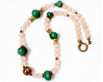 Vintage Rose Quartz and Malachite NECKLACE , Genuine Malachite and Rose Quartz Bead Necklace .