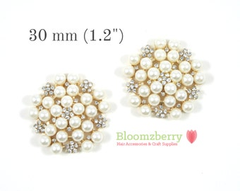 """30 mm or 1.2"""" Inches Vintage Pearl Rhinestones - Flat Back - Pearl Rhinestones - Flat Back Pearl Rhinestones -Hair Accessories Supplies"""