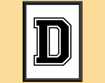 Typography DIGITAL PRINT Monogram Initial Wall Art Varsity Letter D 5x7