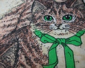 Green Eyed Kittens Cute Fabric Cats Retired Out of Print FQ