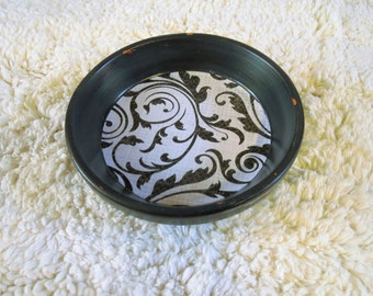 Black Floral Print Hand Painted Terra Cotta 5 inch Coaster Dish Home Decor