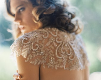 READY TO SHIP | Dream Weaver Embroidered Tulle Cape | Byzantine Collection