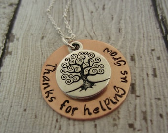 Teacher Necklace-Gift for Teacher-Thank You For Helping Us Grow-Teacher Gift-Hand Stamped Jewelry