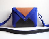 Navy Blue Brown Black Wool Felt Genuine Leather Messenger Crossbody Bag