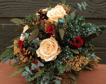 Rustic Winter Champagne and Burgundy Wedding Bouquet, Winter Wedding Bridal Bouquet, Pinecone and Rose Brides Bouquet with Fragrant Foliage
