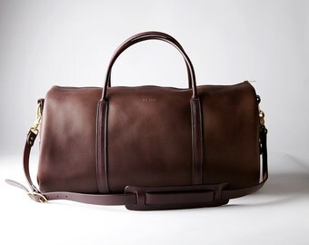 Brown Leather Weekender Bag GORGEOUS Handmade in America by Amish Artisans Duffel Duffle Bag Overnight Bag Brass Hardware