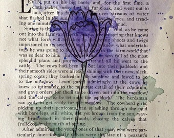 Blue watercolor tulip
