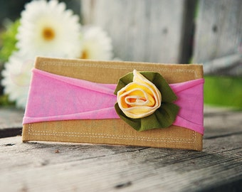 Ema Jane - Shabby Chic Headband (Spring Yellow Rose on Bubblegum Pink)