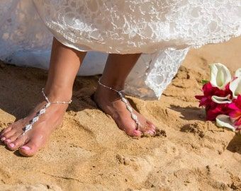 Barefoot Sandals - Pearls & Crystals, Destination Wedding, Beach Wedding sandals, Beach Bridal Shoes, Beach Wedding Shoes, Beach Sandals