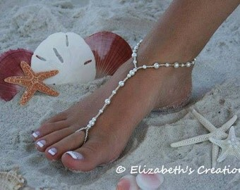 Barefoot Sandal - Simply Elegant  White Pearls, Destination Wedding, Bridal Shoes, Pearl Sandals, Beach Wedding Sandals, Beach Wedding Shoes