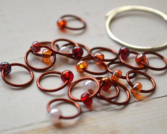 Spiced Rum / Stitch Markers - Dangle Free Snag Free Knitting Stitch Markers - Small Medium Large Sizes Available