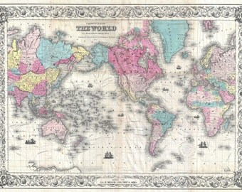 1852 Colton's Map of the World Digitally Remastered Antique Map