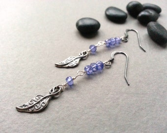 Sterling Silver Lavender Purple Dangle Earrings Mystic Quartz Gemstones Silver Artisan Leaf Charm Silver Ear Wires Modern Boho