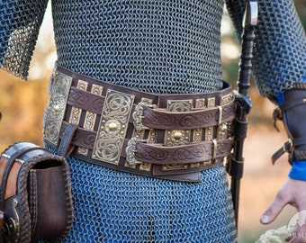 Medieval War Belt; Viking Belt; Men's Leather Belt; Wide Belt