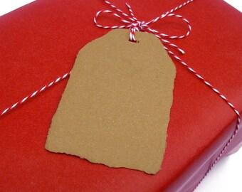 Brown kraft tags, handmade paper, recycled, deckle edge, set of 10