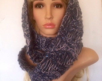 Ooak unique womens brown designer alpaca dark grey/blue and pink lace effect hand knit/crocheted cowl,scarf,infinity neckwarmer