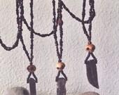 Bitter Root - Rowan berry, Smoky Quartz, Andalusite, carved skull necklace - Dark mala - Solar Plexus chakra length