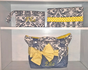 Personalized Diaper Bag In Yellow and Grey Damask.  Add On Accessories To Match.  Interchangeable Bow/Sash Around The Bag
