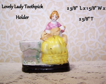Toothpick Lady Violin Romantic Prairie Cottage Chic Victorian Vintage Japan  FREE S&H in USA - International Shipping Too
