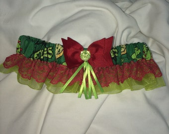 Custom Pizza Ninja Turtles prom or wedding Keepsake and Toss garter set