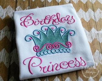 Custom Birthday Princess Crown Shirt - Customizable -  Infant to Youth 62