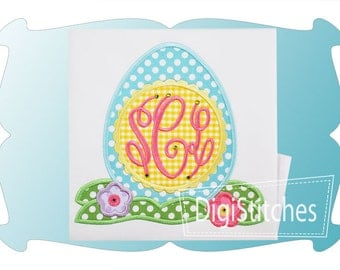 Girly Monogrammed Egg with flowers - Custom monogram - Infants to Youth