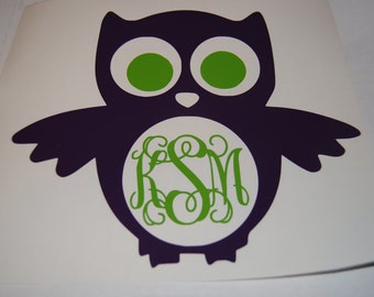 Owl Monogram Decal Great for Phones, Car Windows, Birthday Gifts, Party Favors
