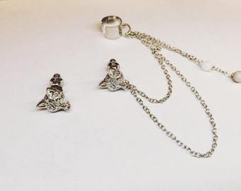 Silver Fox Studs Chain Cuff Earrings Set