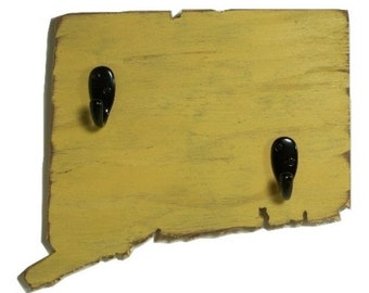 Connecticut key hooks, cottage decor, wood, coat hooks, home decor, shabby chic, distressed, handmade, painted Yellow Mustard