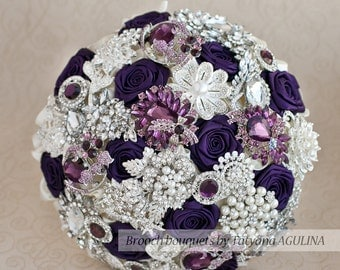 Brooch bouquet. Purple, Ivory and Silver wedding brooch bouquet, Jeweled Bouquet. Made upon request