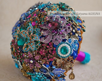 Brooch bouquet. Purple, Teal and Gold wedding brooch bouquet, Jeweled Bouquet.