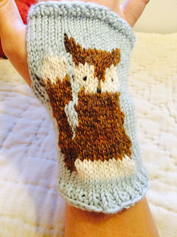 Knitting Pattern For Fox Mittens : Fox Mitts knit pattern PDF