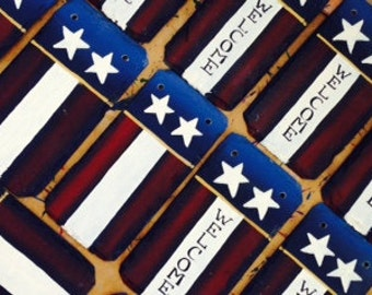 2 Handpainted Small American Flag Slate Welcome Signs