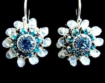 Moonstone Earrings Sterling Silver Dangle Swarovski Crystal Filigree Flower Drop