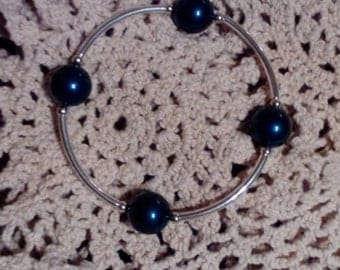 Blessied Bracelet with 4 Swarovski Crystal Pearls on Silver Tube Beads