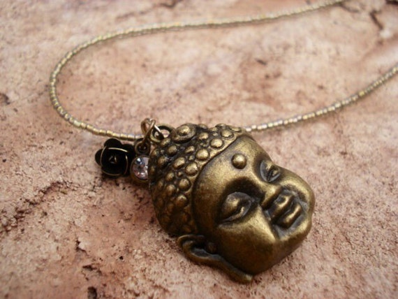 Buddha Yoga Healing Necklace, Seed Bead Necklace, Tiny Bead Necklace, Women's Teen Beaded Necklace, Buddha Jewelry, OOAK, One of A Kind