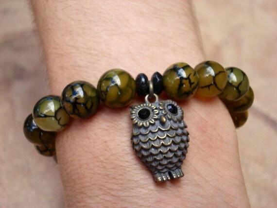 Owl Bracelet, Owl Jewelry, Bird Bracelet, Animal Bracelet, Charm Bracelet, Beaded Bracelet, Stretch Bracelet, Women's Bracelet