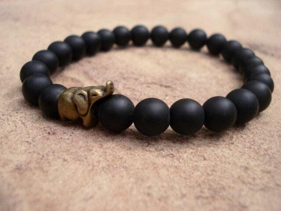 Black Onyx Bracelet, Elephant Bracelet, Charm Bracelet, Men Bracelet, Bracelets for Women, Spiritual Jewelry, Yoga Bracelet, African Jewelry
