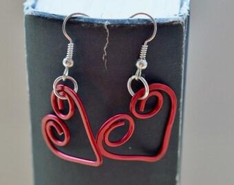 Hammered Valentine Heart Aluminum Dangle Earrings