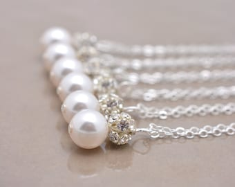 Set of 4 Pearl and Rhinestone Necklaces, 4 Bridesmaid Necklaces, Pearl and Crystal Necklace, Bridemaid Pearl Necklaces, Bridesmaid Gift 0192