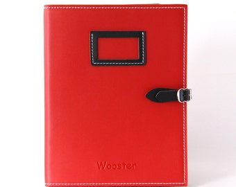 2 in 1 Handmade Leather iPad Case and Stand - Red & Black