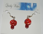 Red Millefioir Beaded Dangle Earrings