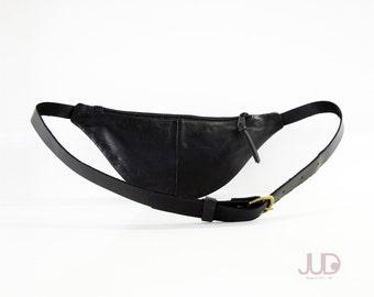 Black leather fanny pack - hip bag SALE Bum bag - waist Purse - waist pack holster - soft black leather - black pouch- black leather bag