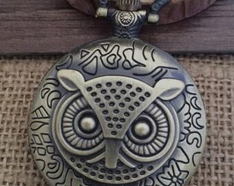 1pcs 45mmx45mm Bronze Owl pocket watch charms pendant PW062