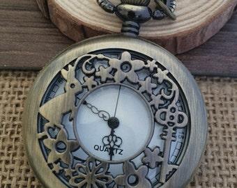 1pcs 45mmx45mm Bronze rabbit pocket watch charms pendant