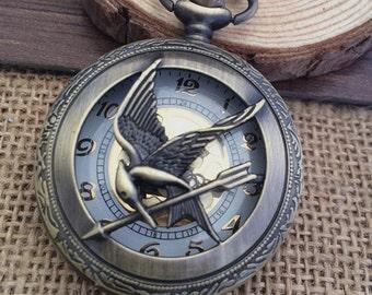 1pcs 45mmx45mm Bronze Bird pocket watch charms pendant