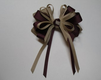 Khaki and Maroon Burgundy Hair Bow Back to School UNIFORM Boutique Streamers Tails Toddler Girl Grosgrain Handmade
